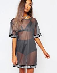 Полупрозрачное сетчатое платье-футболка Shade London - Petrol