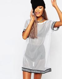 Полупрозрачное сетчатое платье-футболка Shade London - Белый