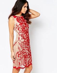 Сетчатое платье миди с узором из пайеток A Star Is Born Luxe - Красный