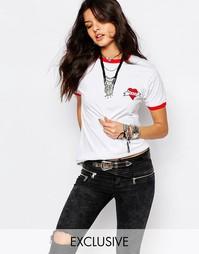 Винтажная футболка с принтом сердца Milk It Retro Ringer - Белый