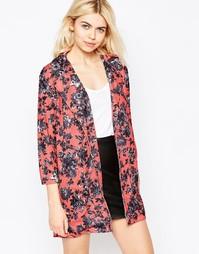 Удлиненная легкая куртка с цветочным принтом Girls On Film - Розовый