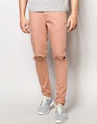 Розовые супероблегающие джинсы с рваными коленками ASOS