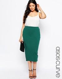 Трикотажная юбка-карандаш миди ASOS CURVE - Зеленый
