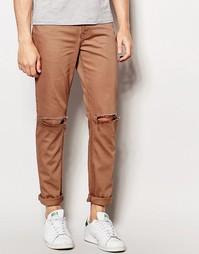 Коричневые джинсы скинни с рваными коленями ASOS - Сосновая кора
