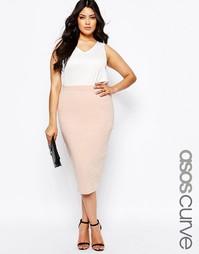 Трикотажная узкая юбка миди ASOS CURVE - Nude pink