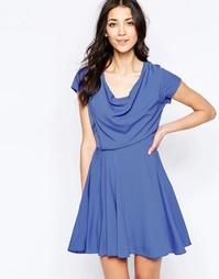 Приталенное платье с драпированным топом Wal G - Сиреневый
