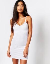 Платье в рубчик с V-образным вырезом Boohoo - Белый