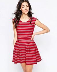 Короткое приталенное платье в полоску Wal G - Wine