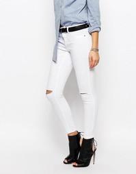 Облегающие джинсы с дырками на коленях J.D.Y - Белый JDY