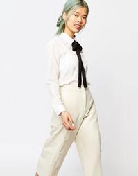 Блузка с длинными рукавами и оборками на воротнике Zacro - Белый