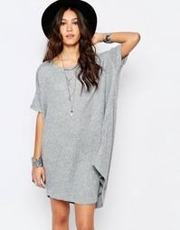Свободное платье-рубашка из трикотажа в рубчик Stitch & Pieces