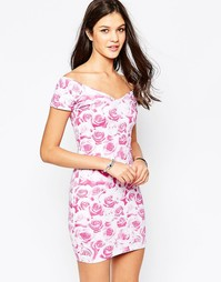 Платье с принтом розы Motel Danielle - Розовый