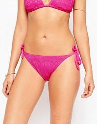 Плавки бикини с завязками по бокам Marie Meili Aquarius - Sunset pink