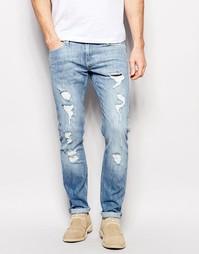 Светло-синие облегающие джинсы с потертостями Lee Luke - Blue trash