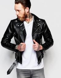 Кожаная байкерская куртка Nudie Jeans Ziggy - Черный