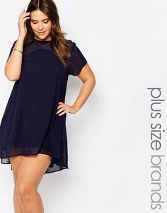 Цельнокройное платье с сетчатой вставкой AX Paris Plus - Темно-синий