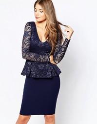 Платье миди с кружевным лифом и баской City Goddess - Темно-синий