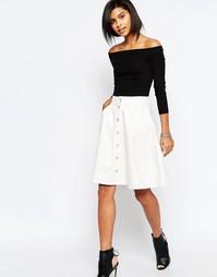 Джинсовая юбка-трапеция с пуговицами спереди Vero Moda - Белый