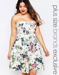 Платье для выпускного с лифом-бандо и цветочным принтом Paper Dolls Pl
