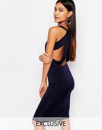 Платье миди с вырезами и отделкой на спине NaaNaa - Темно-синий