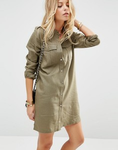 Льняное платье‑рубашка в стиле милитари ASOS - Хаки