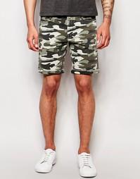 Эластичные джинсовые шорты слим с камуфляжной отделкой ASOS - Хаки