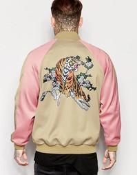 Куртка-пилот с принтом тигра сзади Jaded London Souvenir - Бежевый