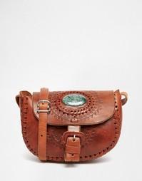 Кожаная сумка ручной работы с полудрагоценным нефритом Hiptipico