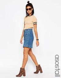 Выбеленная синяя джинсовая юбка-карандаш на пуговицах ASOS TALL