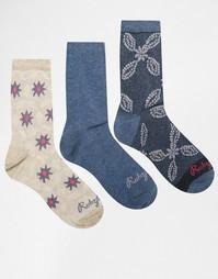 Комплект из 3 пар носков с цветочным принтом Ruby Rocks - Мульти