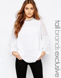 Тканая рубашка с отделкой кружевом Y.A.S Tall - Белый