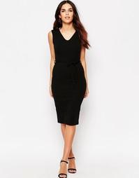 Платье миди в рубчик с поясом Club L - Черный