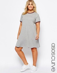 Платье-футболка с контрастным кантом ASOS CURVE - Серый