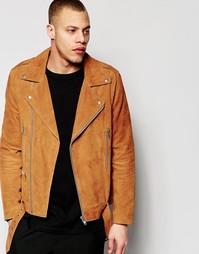 Светло-коричневая замшевая байкерская куртка с поясом ASOS - Рыжий