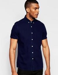 Темно-синяя джинсовая рубашка классического кроя с короткими рукавами Asos