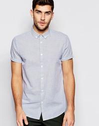 Рубашка классического кроя с принтом в горизонтальную полоску ASOS Whi