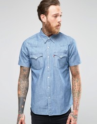Светлая джинсовая рубашка слим с короткими рукавами Levi's Levi's®