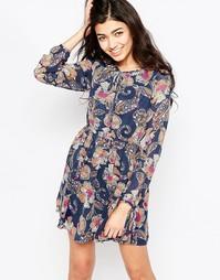 Платье с длинными рукавами и принтом пейсли Iska - Синий