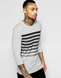 Облегающая футболка с рукавами 3/4 и полосками ASOS - Серый