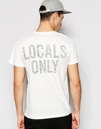 Футболка с принтом Locals Only сзади Selected Homme - Белый
