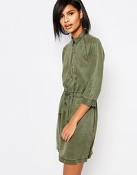Платье-рубашка с завязкой на талии Vero Moda - Зеленый плющ