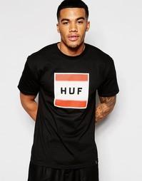 Футболка с принтом HUF - Черный
