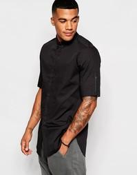 Удлиненная рубашка с молниями и воротником на пуговицах ASOS - Черный