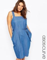 Голубое джинсовое платье миди с завязкой на талии ASOS CURVE - Синий