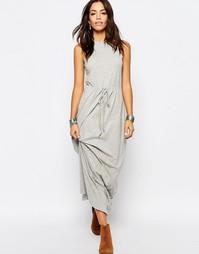 Трикотажное платье макси с завязкой на талии Esprit - Серый