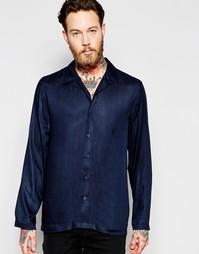 Темно-синяя рубашка классического кроя с лацканами ASOS - Темно-синий