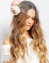Заколка для волос с цветочной и сетчатой отделками Orelia - Розовый