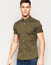 Зауженная рубашка цвета хаки в горошек с короткими рукавами ASOS