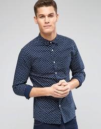 Темно-синяя рубашка скинни с длинными рукавами и принтом ASOS