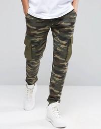 Камуфляжные джоггеры слим с карманами-карго ASOS - Хаки